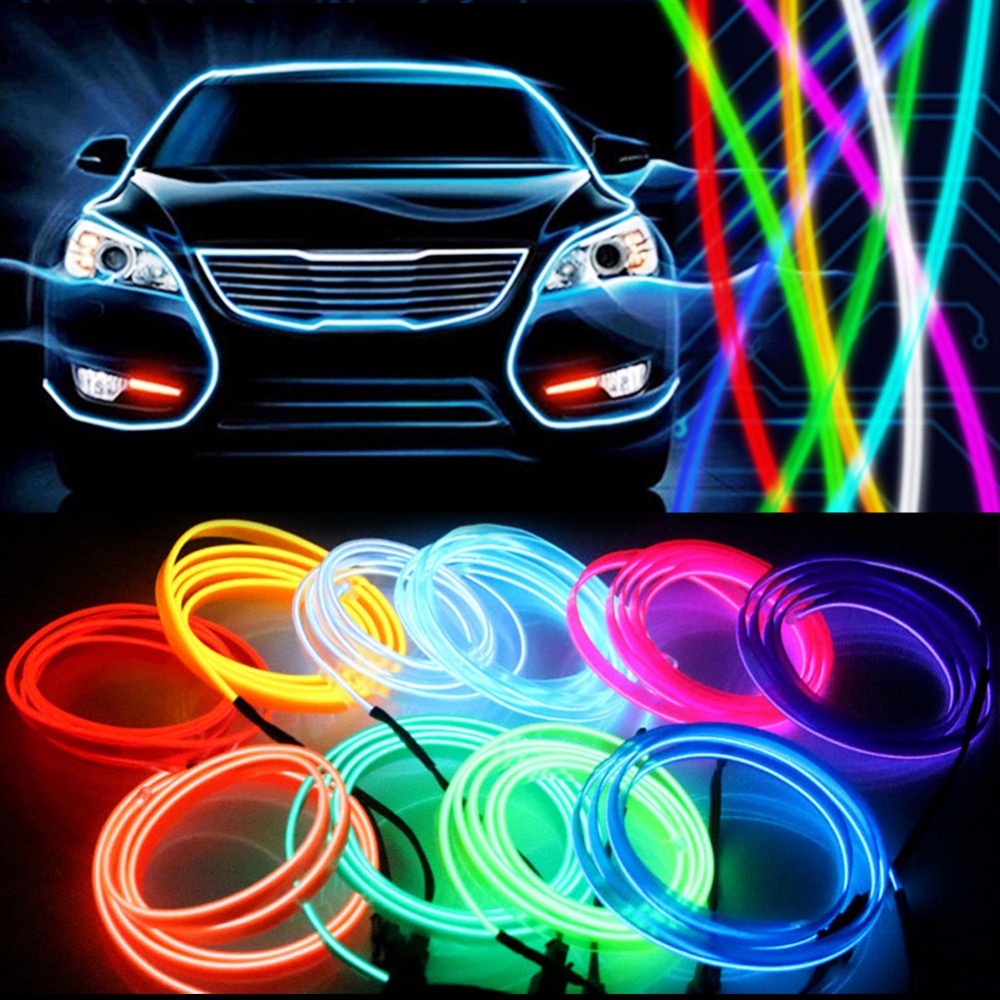 USB 5V 5M 3M 1M EL Wire Flexible Glow EL Wire tape tube Strip LED Neon Lights Shoes Clothing Car waterproof led strip 1m 3m 5m 3v flexible neon light glow el wire rope tape cable strip led neon lights shoes clothing car waterproof led strip new