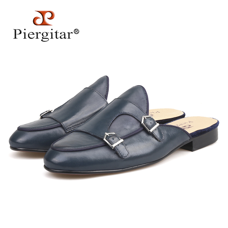 Piergitar new style handmade men's leather slippers with metal decoration fashion party men's dress shoes male smoking slippers все цены