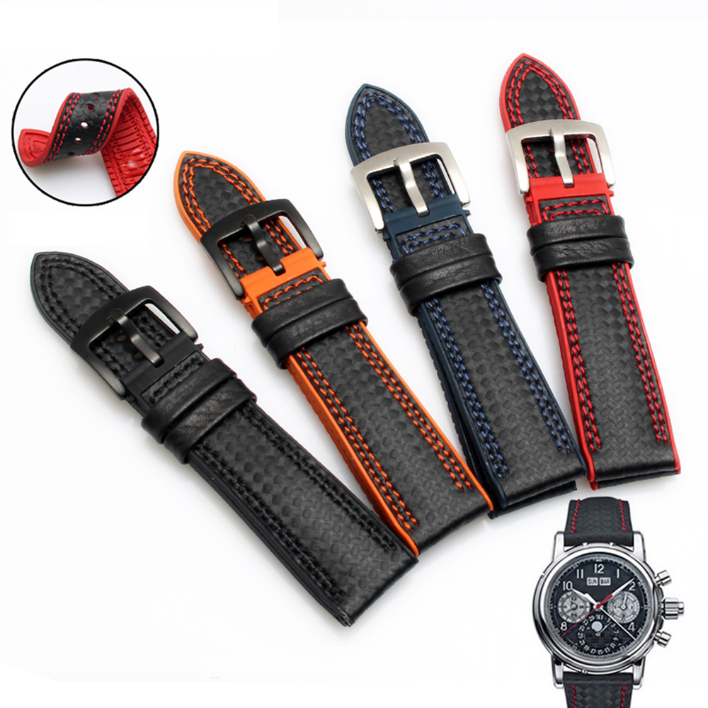 Carbon Fiber Silicone Watch Band 18 20mm 22mm 24mm WatchStrap Watchband for Omega Rubber Bracelet Accessory Waterproof Belt in Watchbands from Watches