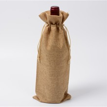 50 pcs 15x37cm Single bottle stamping jute wine pouches bags for Party wedding bomboniere as Gift