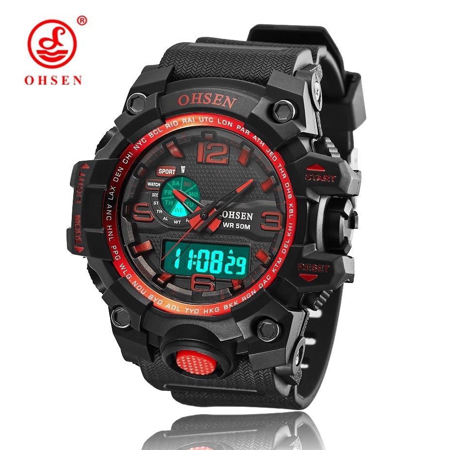 Relógio de Pulso de Quartzo Levou à Prova Militar de Silicone Nova Ohsen Digital Esporte Homens Presentes 50 m d' Água Mergulho Wach Relógio Masculino Vermelho 2020