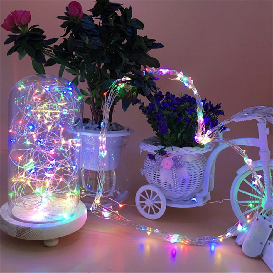 2M 20 LED Copper Wire Fairy Light Garland Christmas LED String Lights Xmas Wedding Home Party Room Decoration Powered By Battery