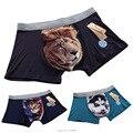 10 unids/lote nueva 3D Print Animal hombres boxer shorts hombre de ropa interior boxers lion leopard cat dog impresión cortos hombres calzoncillos
