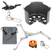 Outdoor Camping Hiking Cooker Set Foldable Gas Clip on Stove Windshield Cylinder Tripod Holder Gas Refill Adapter Cylinder Head