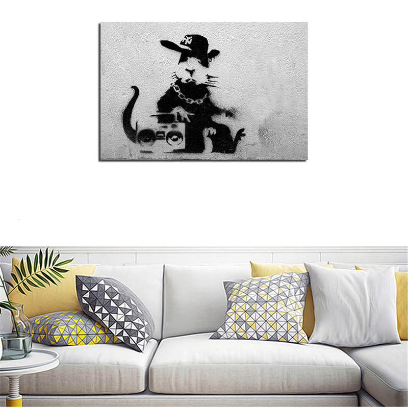 Banksy Graffiti Rap Rat Wall Art Canvas Poster And Print Canvas Painting Decorative Picture For Bedroom Home Decor Accessories in Painting Calligraphy from Home Garden