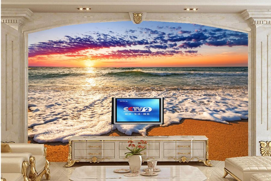 Custom murals sunrises and sunsets coast sea foam nature for Nature wallpaper for living room