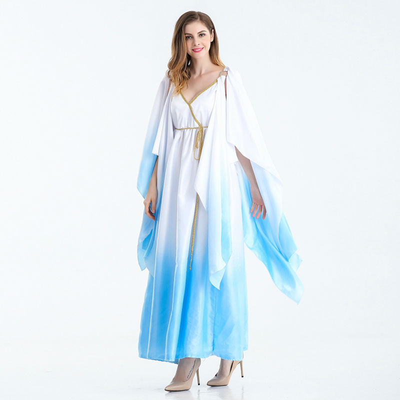 Vocole Halloween Sexy White Blue Greek Goddess Costume Princess Cosplay Long Dress Roman Toga Robe Fantasia Fancy Dress