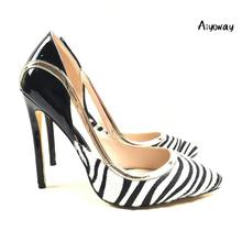 Aiyoway 2019 Spring Women Shoes Pointed Toe High Heels Pumps Zebra Pattern Party Clubwear Dress Slip-On