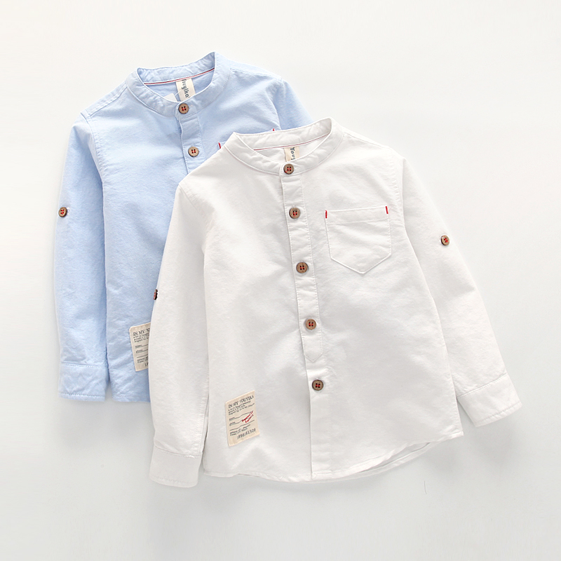 Baby Boy Collar Shirt British Children Solid Cotton Tops New Long Sleeve School Blouse Kid Clothes White Shirts for Toddler Boys stylish ruffled collar long sleeve see through lace blouse for women