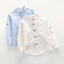 6d67770b Baby Boy Collar Shirt British Children Solid Cotton Tops New Long Sleeve  School Blouse Kid Clothes White Shirts for Toddler Boys