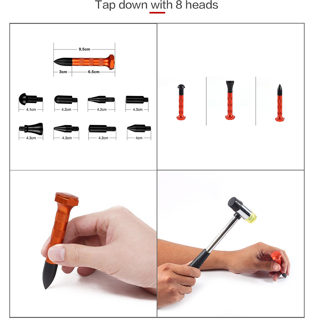 Paintless Dent Removal Puller PDR Push Rods Tools Spring Steel Tail Repair Set