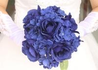 23CM Floral Bouquet,5PCS Artificial Silk Tea Roses Heads+4PCS Real Touch Hydrangea,Wedding Centerpieces Bridal Bouquets Supplies