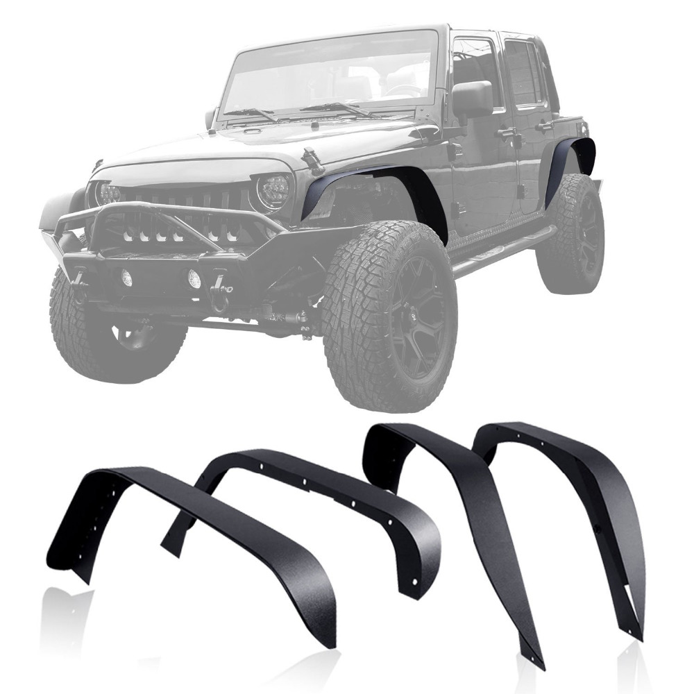 set J064 black Steel Fender Flares Front and Rear for 2007-2017 Jeep Wrangler JK 2 doors & 4 doors for jeep wrangler jk anti rust hard steel front