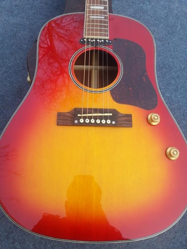 2016 Nieuwe + Fabriek + cherry burst Chibson J160 akoestische gitaar John Lennon Replica J160E akoestische gitaar met hals pickup systeem