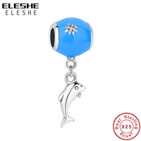 ELESHE Authentic 925 Sterling Silver Blue Enamel Crystal Dolphin Beads Fit Original Pandora Charm Bracelet DIY Jewelry Making