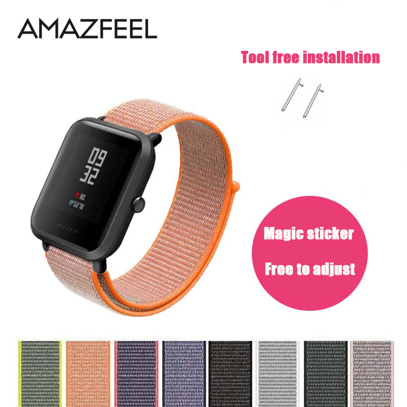 AMAZFEEL Nylon Strap for Amazfit Watch Band Colorful Nylon Loop Woven Wrist Braclet for Amazfit BIP PACE STRATOS Watch Bands