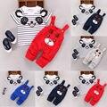 Bonito Da Criança Do Bebê Dos Miúdos Meninos Roupas Roupas Tops T-shirt + Suspensórios Calças Compridas 2 PCS Set