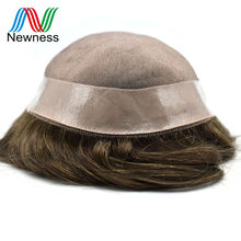 NEWNESS Hair Wig For Men Remy Human Hair Toupee Mono PU Base Hair System Durable Men Hairpieces(China)