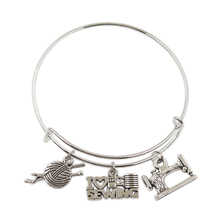 New Silver Color Metal Women Vintage I Love Knitting Sewing Machine Yarn Scissors Charms Accessory Men Bangles Jewelry Gifts