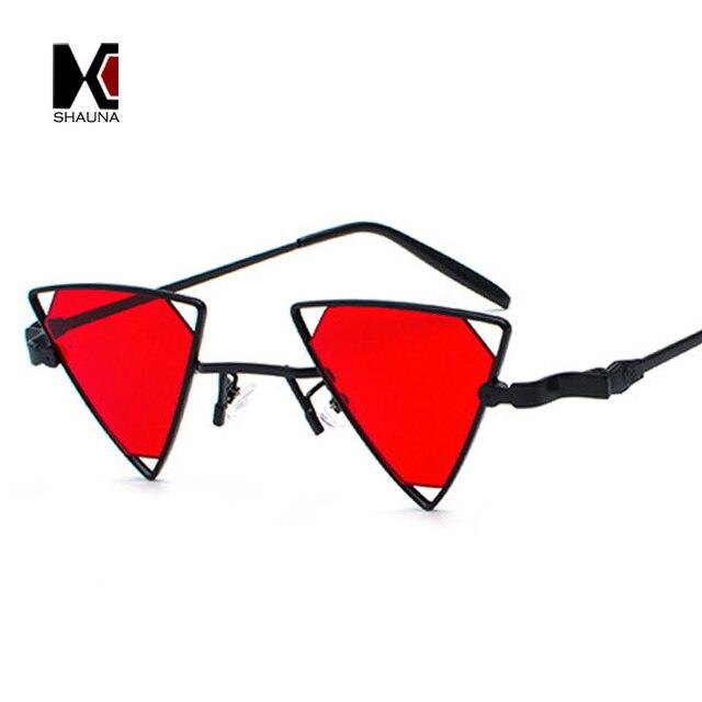 9a561c2fb66311 SHAUNA Vintage Punk Styles Femmes Triangle lunettes de Soleil Mode Hommes  Évider Rouge Objectif Shades UV400