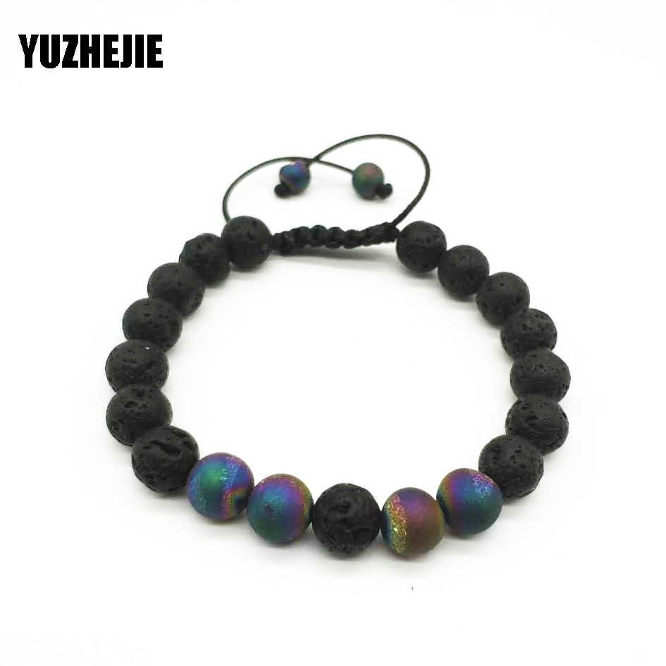 YUZHEJIE Прямая доставка Лава камень тигровые глаза SPAR Серебряный браслет для мужчин натуральный черный Лава вулканический камень бисерные браслеты для женщин