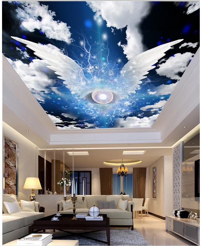 Photo wall mural star angel wings cloud ceiling 3d for Angel wall mural