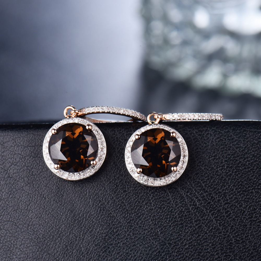 Vintage Solid 14Kt Rose Gold Natural Diamond Smoke Topaz Earrings For Sale E0006