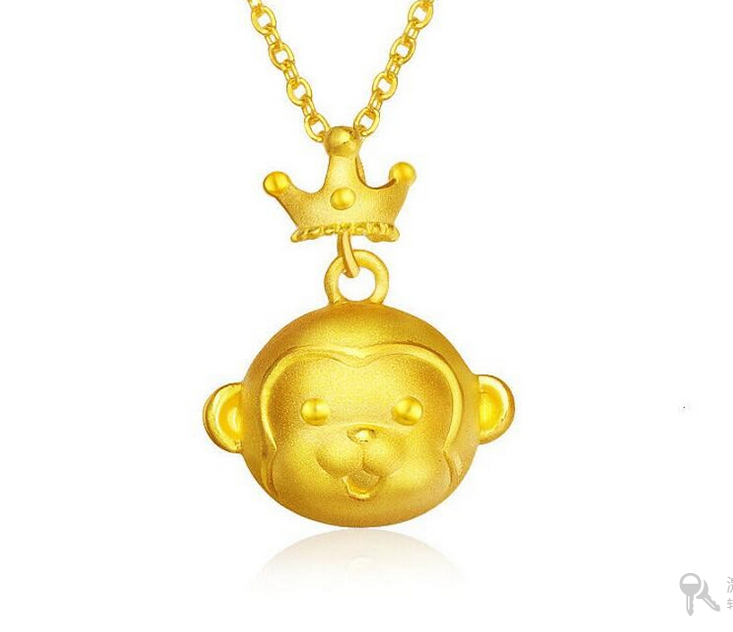 Hot sale New Pure Solid 24K 999 Yellow Gold Pendant /3D Crown Monkey Pendant 1.8g hot sale new pure 24k yellow gold pendant 3d craft lucky number 3 pendant 1 68g