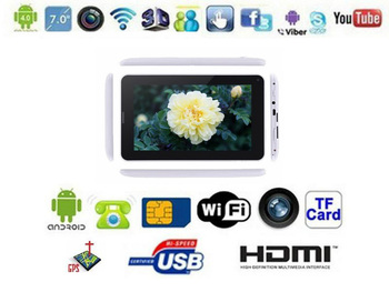 Android SIM 2G 7 MTK8317 Dual core Built-in 2G Phone Call GPS Android 4.1 Dual Cameras WIFI Tablet PC