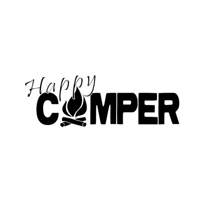 20X69CM HAPPY CAMPER Fire Camp Outdoors Bumper Sticker Car Decal Black Silver Vinyl