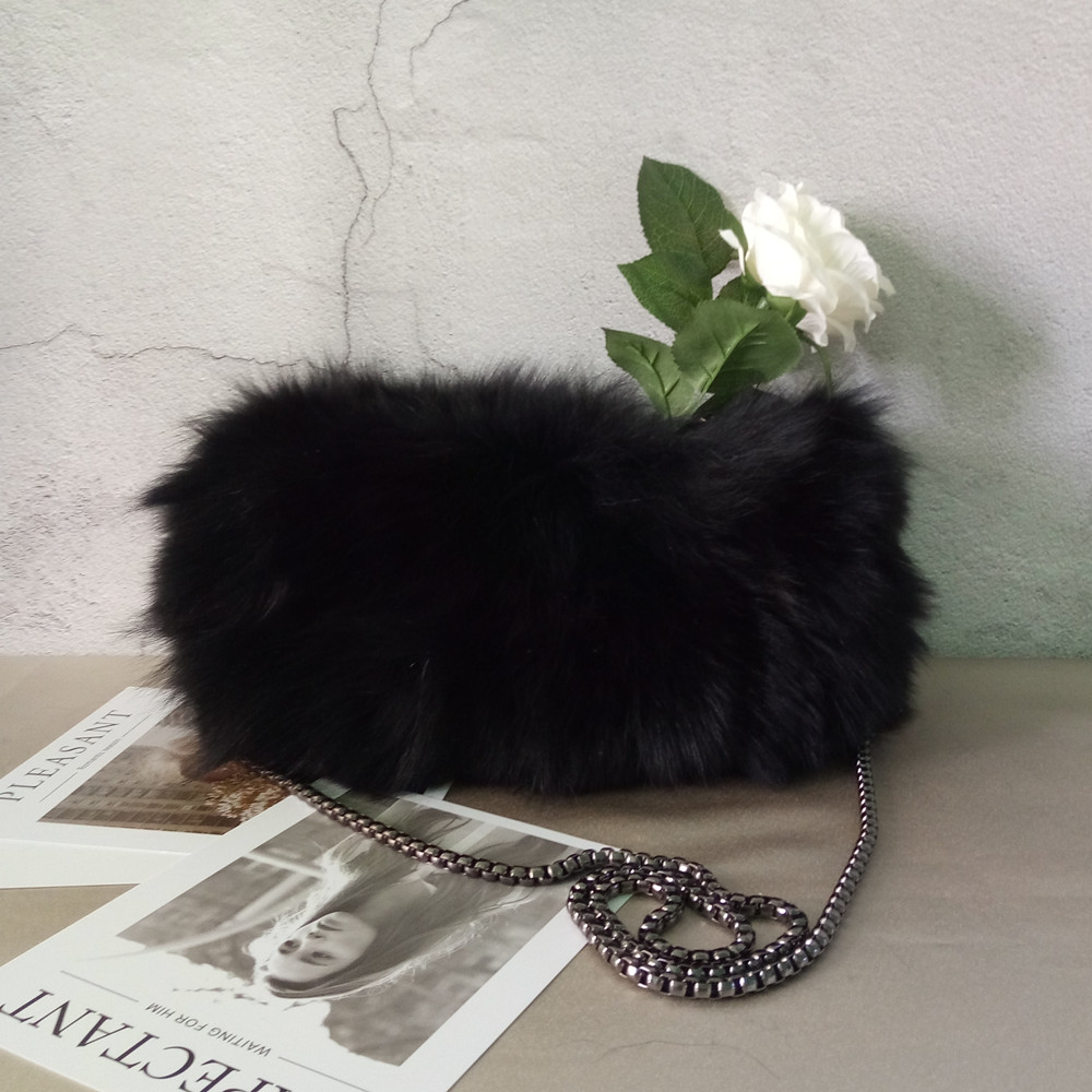 novelty real fox fur small chain bag for women luxury real fur day clutch bag black dark green party bag winter shoulder bag winter fashion fur evening bag for lady handbag women day clutch small tote wristlet bag messenger bag pochette shopping bag