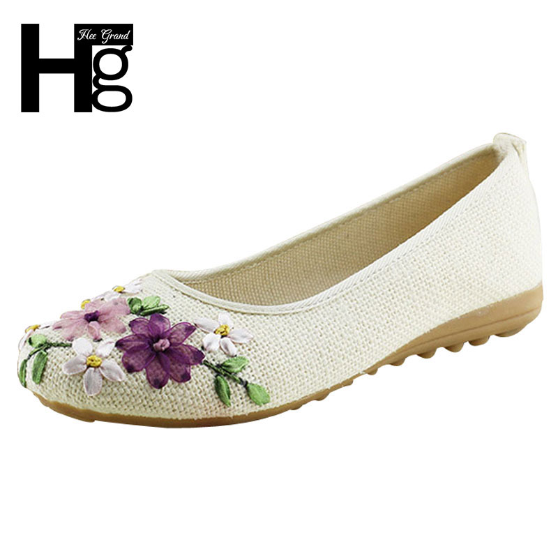 HEE GRAND 2017 Kvinner Blomsterleiligheter Slip On Cotton Fabric Casual Shoes Komfortabel Round Toe Flat Sko Kvinne Plus Størrelse XWD3644
