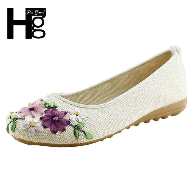 HEE GRAND 2017 Women Flower Flats Slip On Cotton Fabric Casual Shoes  Comfortable Round Toe Flat 7a35f1a70852