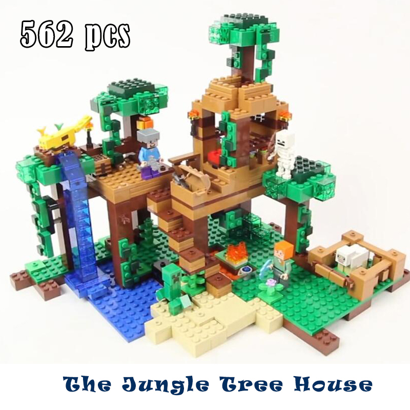 Model building blocks kits compatible with lego my world Minecraft The Jungle Tree House model building toy hobbies for children