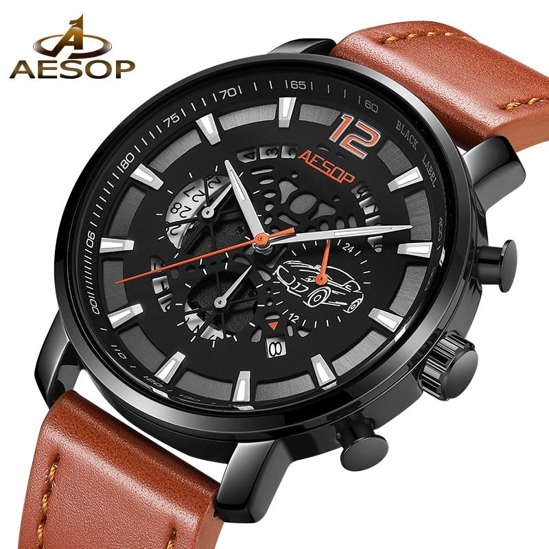 2018 AESOP Brand Sports Men Watch Fashion Shockproof Waterproof Quartz Leather Watches Clock Relogio Masculino zegarek damski