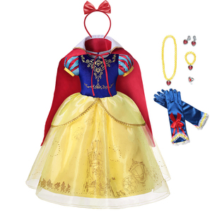 Платье принцессы Белоснежки с накидкой для девочек; Детский карнавальный костюм; Многослойное роскошное бальное платье; Детское платье на ...