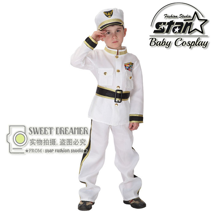 Halloween Costume Children's Traffic Army Police Clothing Navy Sailors Clothing Children Show Costume For Cosplay Costume halloween cosplay costume children little napoleon long acting costume
