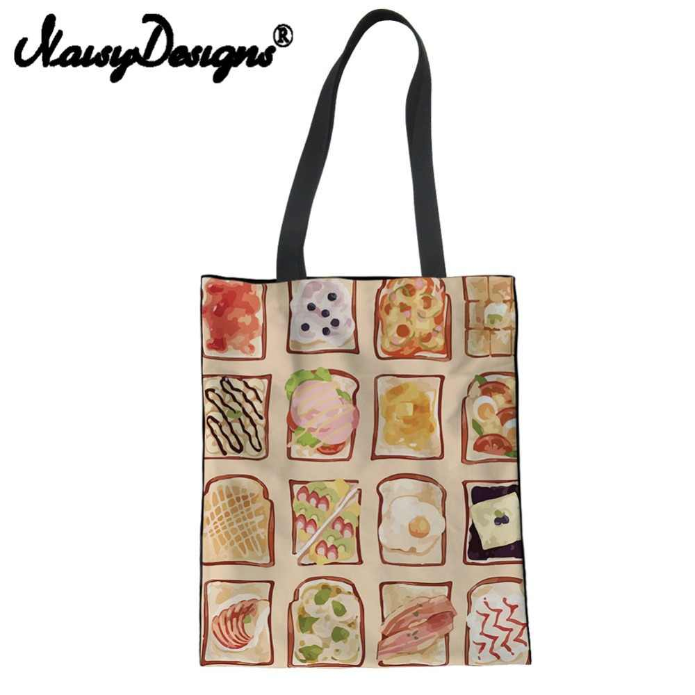 b0cf5369e NOISYDESIGNS cartoon bread food pattern printed Reusable Canvas Shopping  Bags for Women Folding Eco-friendly