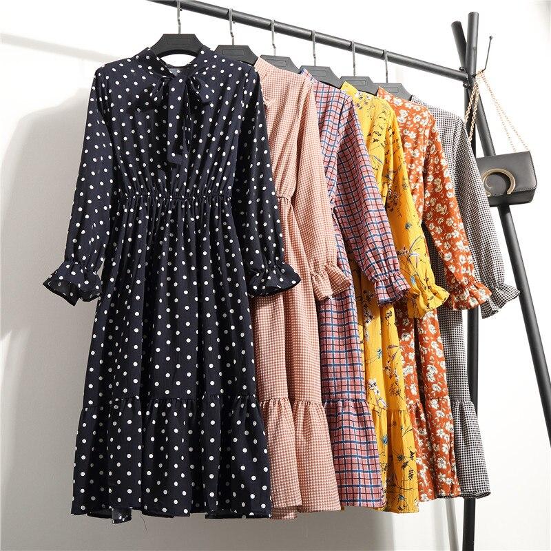 Vestido de cintura elástica alta das mulheres do vintage outono inverno vestidos chiffon midi casual floral manga longa escritório polka senhoras