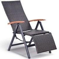 Garden Folding Rattan Aluminum Recliner Chair 7 Adjustable Position Rattan Lounge Outdoor Chair Premium Eucalyptus Wood Armrest