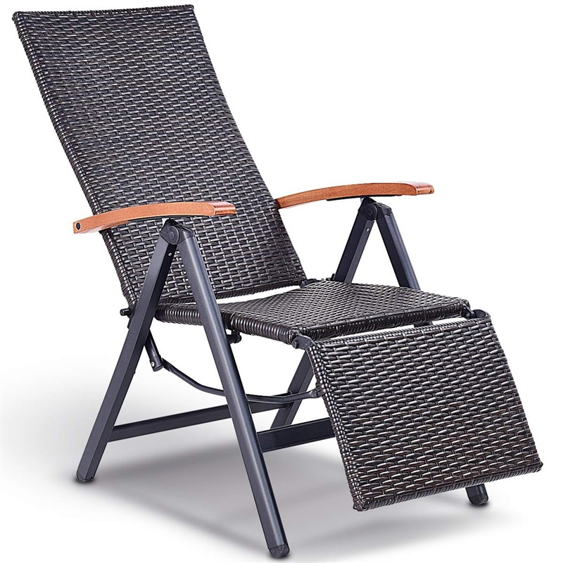 Jardin pliant rotin aluminium fauteuil inclinable 7 Position réglable rotin salon chaise d'extérieur Premium Eucalyptus bois accoudoir