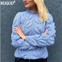 RUGOD 2018 Autumn Winter Warm Knitted Pullover Women Elegant Leaves Pattern Knitwear Sweater Female Sweater Jumpers Befree