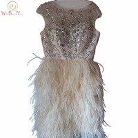 100% реальные изображения цвета шампанского/цвета слоновой кости страуса перо Элегантные коктейльные платья Кристалл Бисероплетение лиф ко