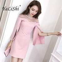 Solid Plus Size Pencil Dress 2018 Autumn Women Black Pink Long Sleeve O neck Elegant Party Mini Dress Short Dresses Gala Dress