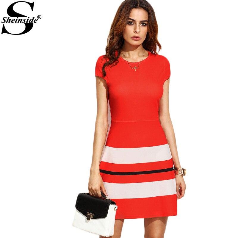 Sheinside Red Striped Print Office Ladies Work Mini Dress