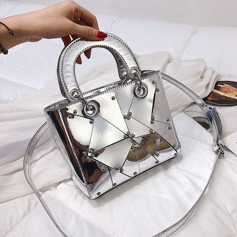 Luxury Brand Tote Bag 2019 Fashion New High Quality PU Leather Women's Designer Handbag Mirror Rivet Wild Shoulder Messenger Bag