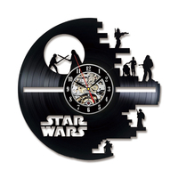 Registro de vinil Relógio de Parede Estrela Tema Guerra Registro CD Relógios LED para Sala de estar Pendurado Relógio Silenciosa com 7- cor Ilumina a Decoração Da Casa
