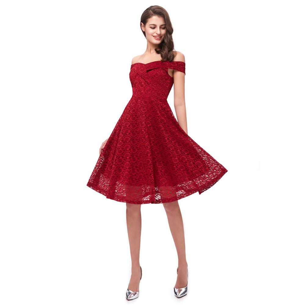 Beauty Emily Lace Wine Red Bridesmaid Dresses 2019 Short