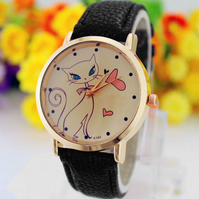 2018 Best Selling Women Watches Gift Vintage Flower Cat Leather Quartz Wrist Wat