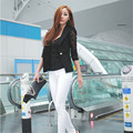 2017 Spring Autumn Lady Working Casual Blazer Lace Floral Sleeve Slim Sexy Suit Single Button Jacket Plus Size Coat White Black